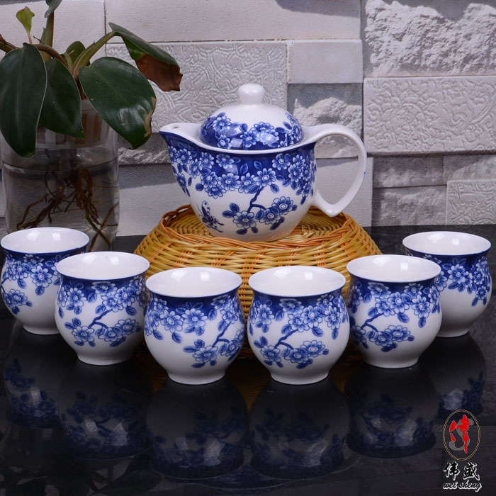 Tea set blue and white porcelain tea set teapot beam pot tea set kung fu tea double layer cup(China (Mainland))