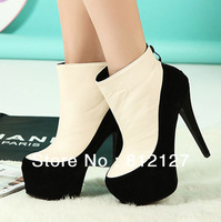 2014 Seconds Kill Closed Round Toe Pu Party Basic Shoes Women Best New Womens Vintage Round Toe Platform High Heels Boots