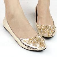 Bridal shoes 2013 shoes rhinestone beaded wedding shoes flat flats dipper shoes princess shoes boat shoes