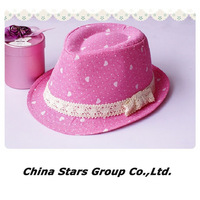Girls Hats Fedora Girl Baby Kids Cotton Fashion Children's Caps Hat Pink Heart Design Bowknot