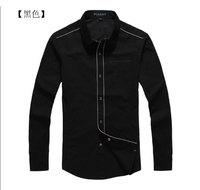 free shipping 2013 fashion Men's spring black classic long sleeve shirt, 100% cotton shirt.