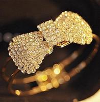 Fashion beautiful 4067 claw  bling full rhinestone bow spring brief bangles hot-selling princess