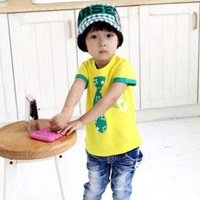 New Arrival Boys Summer Fake Tie Printed Tops Stars Printed Modal T-Shirt, Free Shipping K0199