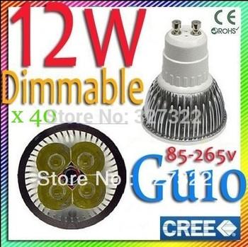 FedEX Free shipping 40 pcs Cree Dimmable 12W 9W GU10 MR16 E27 B22 E14 GU5.3 High Power LED Spot light downlight bulb lamp light