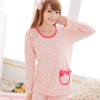 Free Shipping Sleepwear female spring and autumn cotton 100% cotton long-sleeve women's lounge set spring a622 robe