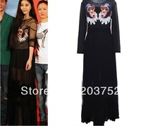 2012 Europe Stylish Long Sleeve Funny Chimpanzee Print Chiffon Maxi Dress Celebrity Novelty Long Dresses