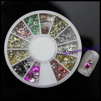 Free Shipping 3D 12 Types Metal Decoration in wheel Shiny Nail Decoration Lovely Outlooking KQH038