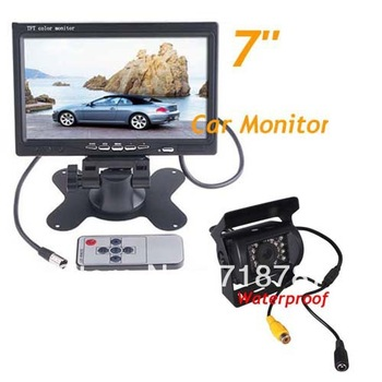 "IR Reverse Camera + 7"" LCD Monitor Car Rear View Kit For Bus Long Truck with 10m cable Free Shipping"