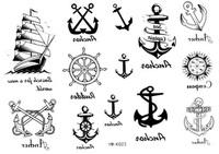 Anchor wonderful trend rudder waterproof tattoo sticker small d23