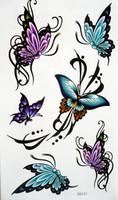 wonderful diy tattoo sticker waterproof Women sexy butterfly tattoo stickers hm343
