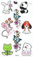 38 waterproof tattoo stickers child sticker multicolour cartoon small animal hm556
