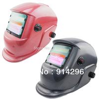 Free shipping carbon fiber Adjustable Solar Auto Darkening  Welding Helmet Mask BLACK\RED