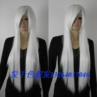 Rainbow cos wig white long straight hair