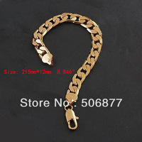 "Wholesale Drop Shipping 18k Yellow Gold Filled Mens Bracelet 8.46""Curb Chain Link jewelry 12MM WIDE Free Shipping"