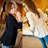 New Womens Ladies White Black Casual Suit One Button Suits Blazer Jacket