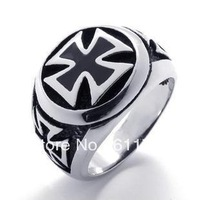 Free shipping US Size (8#--14#) Stainless Steel Iron Cross Biker Ring Religious Army Knight Surgical 316L New