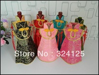 Free shipping wholesale 100pieces Chinese Kont cheongsam wine bottle bags wedding party gift bag 7 colors in