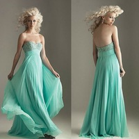 E0163 Hot sale top beaded ruffle chiffon emerald green evening dress