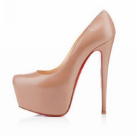 nude leather women's shoes real leather fashion platform pumps high heels wedges shoes woman 2013 high heel shoes