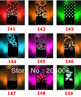 Newest design Colorful Change logo Battery Sense Flash LED light Cover Case for iPhone 4 4s Styles New free Shipping