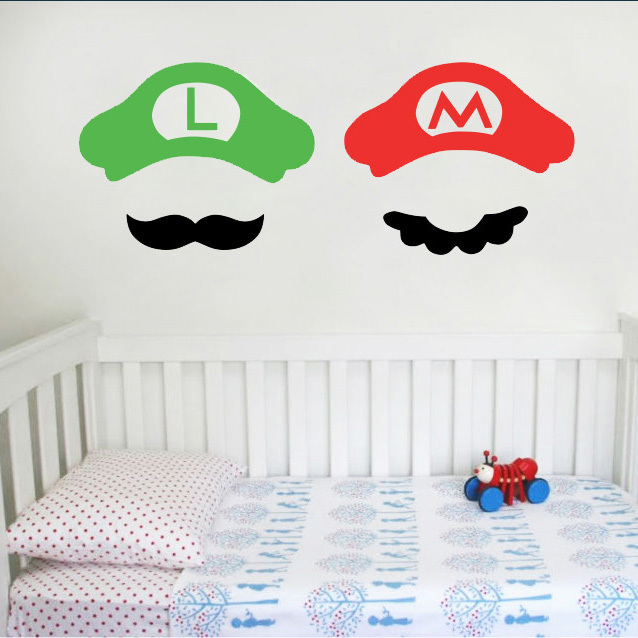 Luigi Video Game Baby Clothes - Super Mario Brothers - Nintendo Onesie stickers on the wall art for kids 23*60CM Free shipping(China (Mainland))