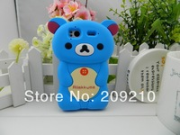 Hot Selling Cute Soft Silicone Skin Case Cover 3D Rilak kuma Bear For HTC Wildfire S A510e G13,1pcs/lot