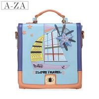 Aza 2013 women's handbag vintage preppy style backpack colorant match cutout portable backpack 9966