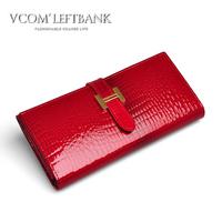Wallet female crocodile pattern japanned leather long wallet design women's cowhide wallet vintage women's wallet