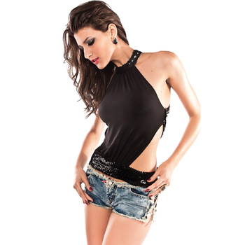 Black 2014 Sexy Women's Stand Backless Blouse Tops Sleeveless T Shirt Top Backless Sequins Tops