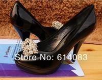 Special offer free shipping  fashion women's classy&stylish peep toe rhinestones black cow leather platform sky high heels