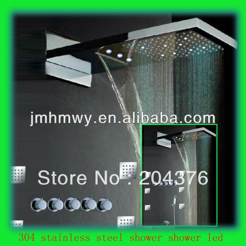 bath shower enclosure rainfall,waterfall,both led light shower head wall mount shower rain(China (Mainland))
