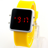 Hot Sale! High Quality Gift Womens ladies Girls Teenagers Yellow Digital Square Sport Digital LED Wrist Watch