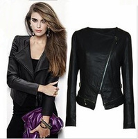 2013 spring outerwear motorcycle women's leather clothing women's short design small slim leather clothing PU jacket fashion