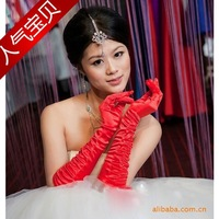 The bride married gloves ceremonized s39 red elastic satin thermal satin gloves