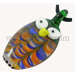 New Shop Discount Handmade Lampwork Pendants, Green, Owl, For Halloween Jewelry Making, 25mm wide, 50mm long, hole: 6mm(China (Mainland))