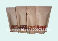 Factory directly sale 100pcs/lot Standup kraft paper bag with window and zipper for food 12x19.5cm