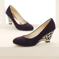 wholesale 2013 women's shoes nubuck leather wedges metal shallow mouth pointed toe shoes sk3230 40