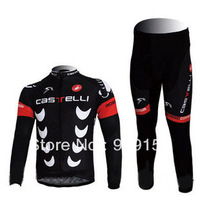 2010 Castelli Black Thermal Cycling Long Sleeve Jersey and Pants Set