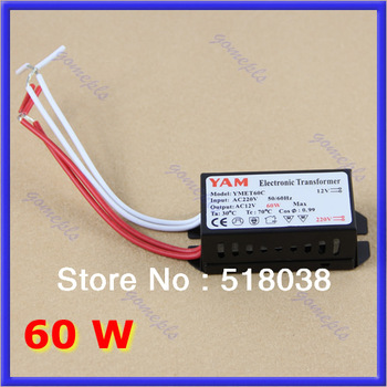 Free Shipping 60W 220V Halogen Light LED Driver Power Supply Converter Electronic Transformer