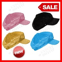 New Ladies sequin newsboy cabbie hat cap visor beret