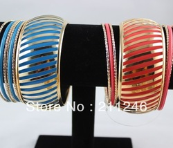 Free Shipping 2013 New Arrivals Fashion Bangles Brecalets Hot Wholesale Fashion multi-layer resin alloy bracelet Bangle 6 Colors(China (Mainland))