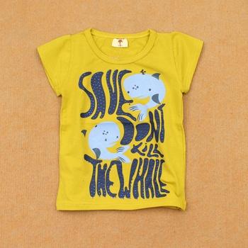 Child summer 300-pound 100% cotton round neck T-shirt female child baby short-sleeve casual t shirts olive green