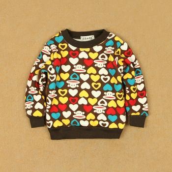 Plus velvet plus wool fleece sweatshirt child pullover male female child winter baby thermal brushed long-sleeve T-shirt basic