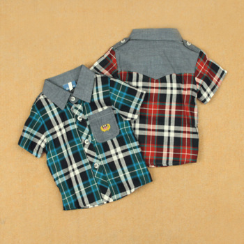Plaid shirt fashion preppy style thin male child summer cotton short-sleeve 100% turn-down collar vertical stripe T-shirt