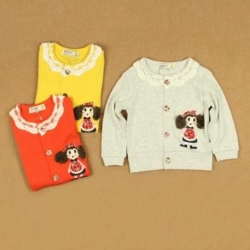 2013 spring infant children's clothing female child rib knitting 100% cotton long-sleeve cardigan clothes