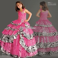 2013  Fuchsia Organza Zebra Stripes Flower Girl Dress Girls Pageant Dresses F192
