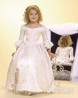 2011 New Style Ankle Lenght Applique Lace Princess Flower Girl Dresses for Wedding Junior HT0224