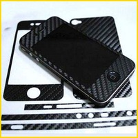 Carbon Fiber sticker For iphone 4 4s, Full body Front back Edge Stickers skin for iphone4 ----- 10pcs/lot