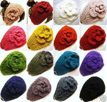 Handmade knitted Headbands crochet Flower headwrap new style headwear mix color 300pcs