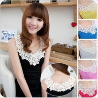 Nice Daisy Petals Lace  tank Tops for women Lace Crochet Collar vest Korean Style patchwork Cotton Camisole 9 Candy color